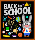 Back to school background with bunny Stock Photography
