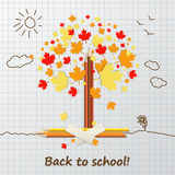 Back to school background or card with pencils, tree and sun. Royalty Free Stock Images