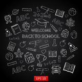 Back to school background on chalk board Stock Images