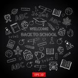 Back to school background on chalk board vector illustration