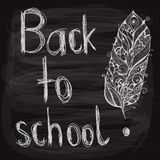 Back to school   background. Back to school chalk drawn  background with feather on blackboard, fully editable eps 10 file with transparency effects, hand Royalty Free Stock Image