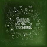 Back to school background by chalk on green blackboard, education concept for banner, advertising, sale. Royalty Free Stock Image