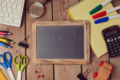 Back to school background with chalkboard. View from above Stock Photo