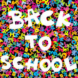 Back to school background with colored letters. Over black background royalty free illustration