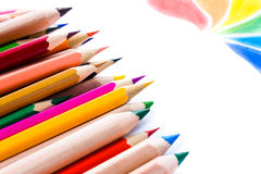 Back to School background with colored pencils. Copy space for Stock Photo