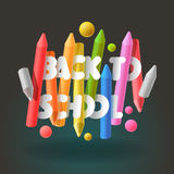 Back to school background with colorful crayons Stock Image