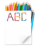 Back to school. Background with colorful pencils. Vector royalty free illustration