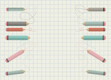 Back to school Background with colorful pencils Stock Photos