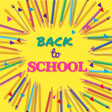 Back To School. Background with Colorful Pencils with Header. Welcome. Poster,Banner ,Brochure Template.Vector Illustration. Royalty Free Stock Images