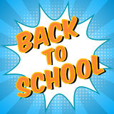 Back To School background. Comic speech bubble with halftone effect. Colorful digital promo text. Education concept Stock Image
