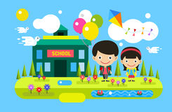 Back to school background. Cute cartoon boy and Stock Image