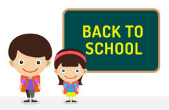 Back to school background. Cute cartoon boy and Royalty Free Stock Images