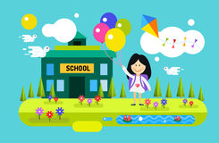 Back to school background. Cute cartoon boy and Royalty Free Stock Image