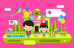 Back to school background. Cute vector cartoon boy Stock Photos