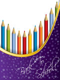 Back to school background design with pencils. Back to school themed background design with pencils and water drops Royalty Free Stock Photo