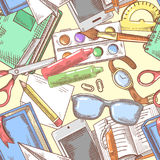 Back to School Background. Education Hand Drawn Seamless Pattern with Books, Notebook and Pen Royalty Free Stock Image