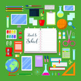 Back to School Background with Education Icon Set Royalty Free Stock Image