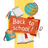 Back to school background with education icons Stock Images