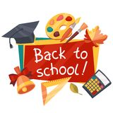 Back to school background with education icons Stock Photo