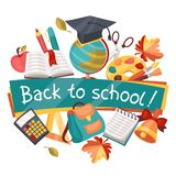 Back to school background with education icons Royalty Free Stock Image