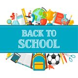 Back to school background with education items. Illustration of colorful supplies and stationery Stock Image