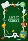 Back to school background with education items. Illustration of colorful supplies and stationery Stock Images