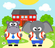 Back to school background with elephant ,hippopotamus Stock Image