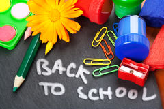 Back to school. Background with school equipment Royalty Free Stock Photos