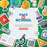 Back To School Background With Flat Icon Stickers. Set. Vector Flat Illustration. Notebook  Sheet with School Objects Around Royalty Free Stock Image