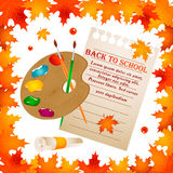 Back to school background with frame of leaves with palette, note paper and text Royalty Free Stock Photo