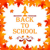 Back to school background with frame of leaves, text, design elements royalty free illustration