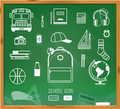 Back to school background. Green desk with school Stock Photo