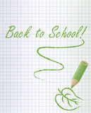 Back to school background with a green pencil and leaf Royalty Free Stock Images