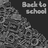 Back to school background with hand drawn icons on Royalty Free Stock Photography