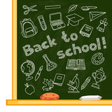 Back to school background with hand drawn icons on Stock Photos