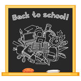 Back to school background with hand drawn icons on Stock Image