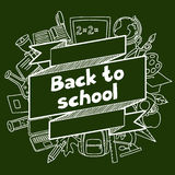 Back to school background with hand drawn icons on Stock Photo