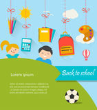Back to school background with hanging supplies set, children, c Royalty Free Stock Photo