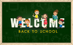 Back to school background with kids and welcome sign Stock Image