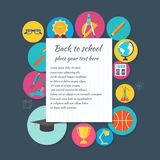 Back to school. Background. Leaf  notebook. Icons of education, science and knowledge. Space for text or object. Vector Illustration Royalty Free Stock Image