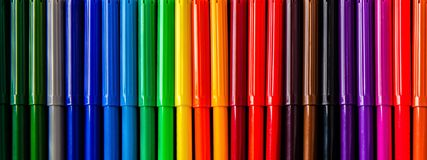 Back to school background with a lot of colorful felt-tip pens n Stock Images