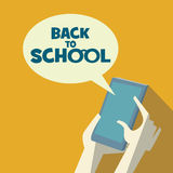 Back to school background. Modern technology flat. Design. Learn online concept. Hands holding smartphone.  Eps10 vector illustration Royalty Free Stock Photos