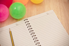 Back to school background with notebook and colorful ball, vinta Stock Photos