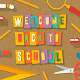 Back to school background, paper collage. Welcome back to school background with schools supplies. Words cut out by scissors from colorful paper, collage paper Royalty Free Stock Images