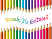 Back to school background with pencils and waving text Stock Photography