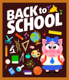 Back to school background with piggy. Vector Royalty Free Stock Images