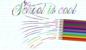 Back to school background with rainbow wave and pencils, vector illustration Stock Image