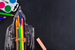 Back to school background with rocket made from pencils with cop royalty free stock photo