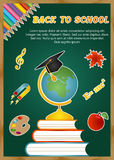 Back to school background with school icons leaf, palette, globe, book, graduate cap, pencil and text Stock Photos