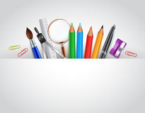 Back to School Background with School items Royalty Free Stock Photo